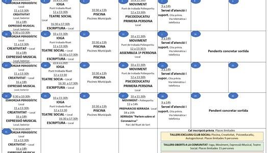Programació d'activitats per al mes d'agost de 2020 de l'Associació Salut Mental Pallars