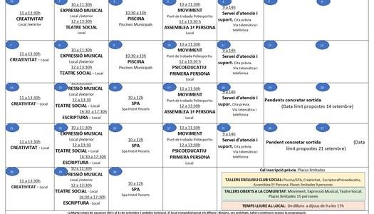 Programació d'activitats per al mes de setembre de 2020 de l'Associació Salut Mental Pallars