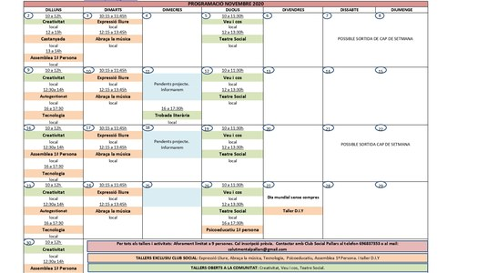 Programació d'activitats per al mes de novembre de 2020 de l'Associació Salut Mental Pallars