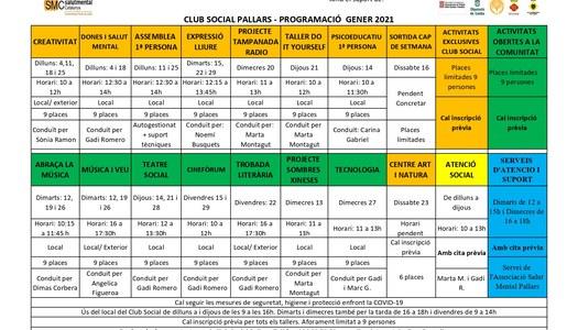 Programació d'activitats per al mes de gener de 2021 de l'Associació Salut Mental Pallars