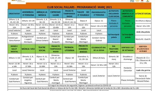 Programació d'activitats per al mes de març de 2021 de l'Associació Salut Mental Pallars