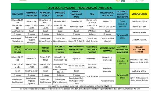 Programació d'activitats per al mes d'abril de 2021 de l'Associació Salut Mental Pallars
