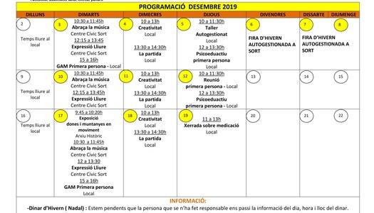 Programació d'activitats per al mes de desembre de 2019 de l'Associació Salut Mental Pallars